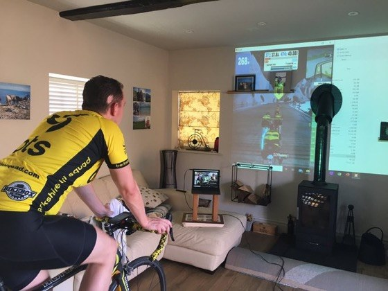 Andy & Karen Zwift/Spin/Yoga projector
